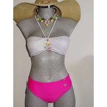 Bikini Strapless Blanco Con Tanga Brasileña Fiusha.