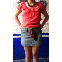 Hermosas Mini Faldas Gasa Y Mezclilla Marca Zara.