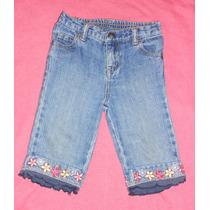 Greendog! Jeans Para Beba, Capri, Flores Bordadas 24 Meses