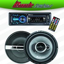 Combo Autoestereo + Bocinas 6.5 Rks-pk4065 Usb Sd Aux Am Fm