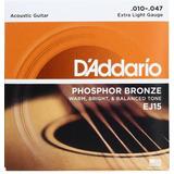 Daddario Ej-15 Cuerdas Guitarra Acústica Fósforo Bronce
