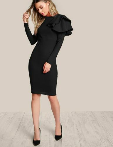 Shein Moda Asiatica Vestido Tipo Lápiz Negro Elegante En
