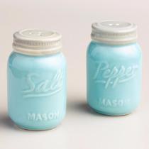 Salero Y Pimentero En Forma De Mason Jar Color Azul