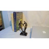Escultura Figura Abstracta Hombre-mujer Resina18cms Dorado