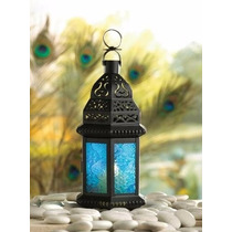Candelabro Gotico Moroccan Lantern Blue Glass Candle Holder