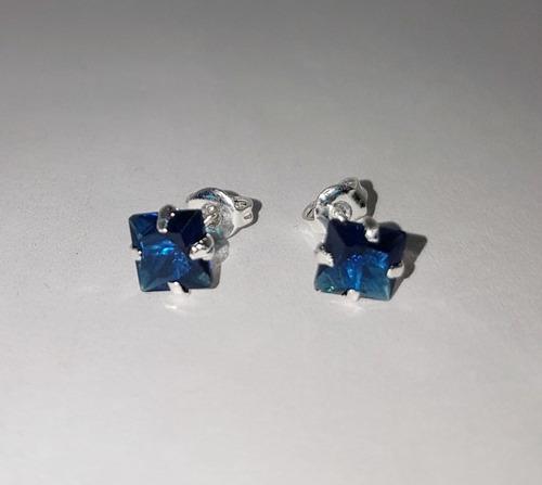 885cb8e96f91 Aretes Cristal Regalo Cuadro Azul Plata Ley 925