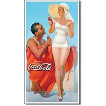 Coca Cola Pareja Playa Letrero Vintage Retro Lamina Anuncio