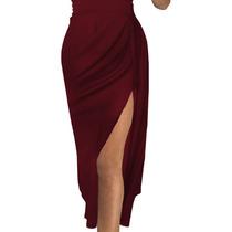 Vestido Para Dama Color Vino Sin Hombros Moderno Sexy