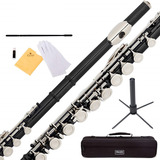Flauta Transversal Negra Llaves Plateadas Orificios Cerrados