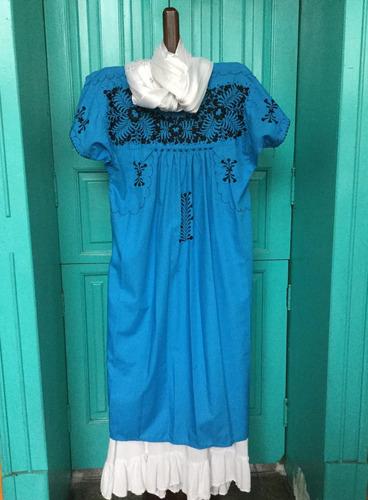 Vestido Oaxaqueño Bordado A Mano San Antonino Unitalla Azul