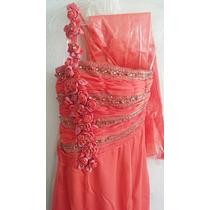 Vestido Largo De Noche Color Coral