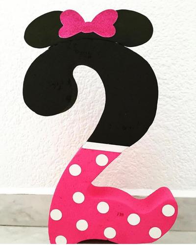 Centro Mesa Decoracion Num Personalizado Fiesta Minnie Mouse