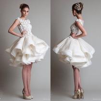 Vestido De Novia Boda Corto De Organza Encaje Elegante