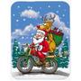 Navidad Santa Claus En Un Cristal De La Motocicleta De La Ta