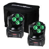 Mini Cabeza Baby Wash Led 4x10 Watts Robotica Rgbw Set 2
