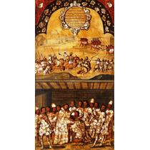 Lienzo Cuadro Tabla 19 De 22 Conquista Imperio Azteca 90x50