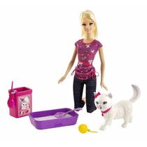Barbie Entrenadora Viene Muñeca Y Mascota Gato Blissa