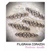 25 Filigranas Corazon Bronce Para Decorar Invitaciones