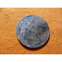 Antigua Moneda De 10 Centimos De España Año De 1870.