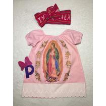 Vestido Virgen De Guadalupe Rosa Para Niña Con Bandita En