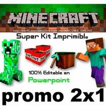 Kit Imprimible Minecraft, 100% Editable En Powerpoint 2x1