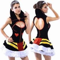 Disfraz Reina Roja Corazones Corto Halloween