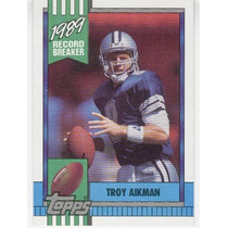 1990 Topps Record Breaker Troy Aikman Dallas Cowboys