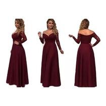 Busca Maxi Vestido Fiesta Color Vino Largo Corte Sirena Con
