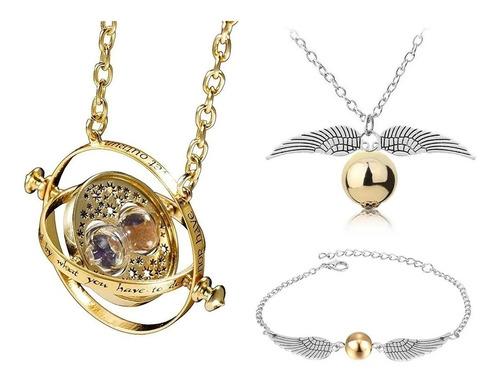Collar Giratiempo Harry Potter + Collar Y Pulsera Snitch