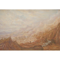 Pintura Firmada Vintage Paisaje Montañoso Nublado