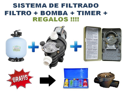 Sistema kit filtrado albercas piscinas bomba filtro timer for Bombas para piscinas precios