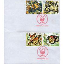 México, 2 Sobres 1er Dia, Mariposa Monarca 1988