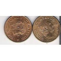 2 Monedas De 5 Centavos Josefas De 1976 Con Brillo Lbf