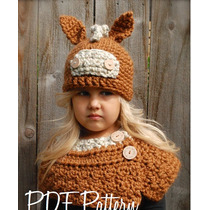 Gorro Y Cuello Niña Estambre Crochet Bu2 Importados Usa!!