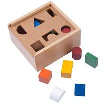 Caja Alcancía Para 6 Figuras Geométricas Madera 8 Pzs 3+ Dml