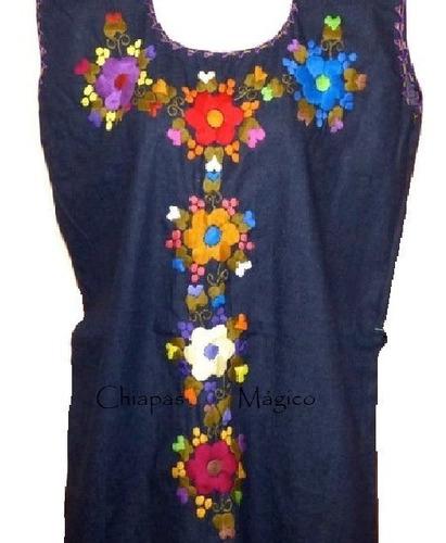 Lindo Vestido Bordado A Mano Mezclilla Talla M Chiapas