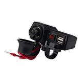 Cargador Celular Moto 2 Usb Voltimetro Y Tipo Encendedor 12v