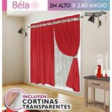 Juego Cortinas Béla 6pzas (2 X 2.80) Incluye Transparente