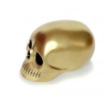 Alcancía En Forma De Craneo Dorado Mate Skull Calavera