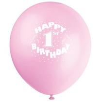 12 Rosa Feliz 1r Cumpleaños Globos Latex 6ct