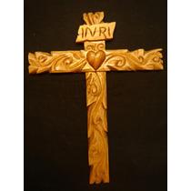 Cruz Sagrado Corazón - Madera Tallada - Arte Sacro Maa