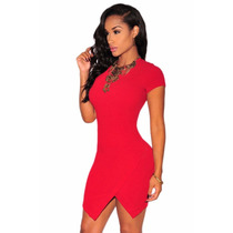 Sexy Vestido Asimetrico Rojo Manga Corta Moda Asiatica