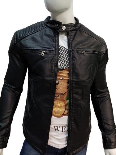 Chamarra De Hombre Vini Piel Slim Fit Moda Color Negro Biker