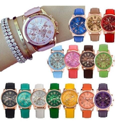 10 Reloj Geneva Mayoreo Piel Vinil Moda Dama Proveedor Lote