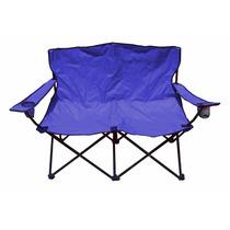 Silla Doble De Playa Alberca Plegable Azul Rojo 2 Personas
