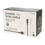Cable V8 Micro Usb Carga Datos Reforzado Carga Rapida Blanco