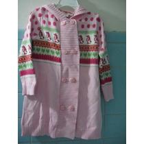 Sweater Largo Rosa Con Gorro Niña Talla 3 Años Lindo