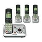 Cordless Phone Silver Black 4 Handsets Answering System Call