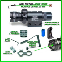 Mira Tactica Laser Verde 20mm Riel Para Rifle Pistola Gotcha