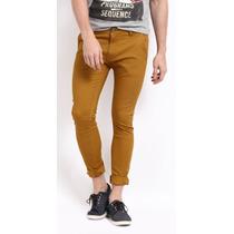 Pantalon De Mezclilla Para Hombre Skinny Mostaza Entubado